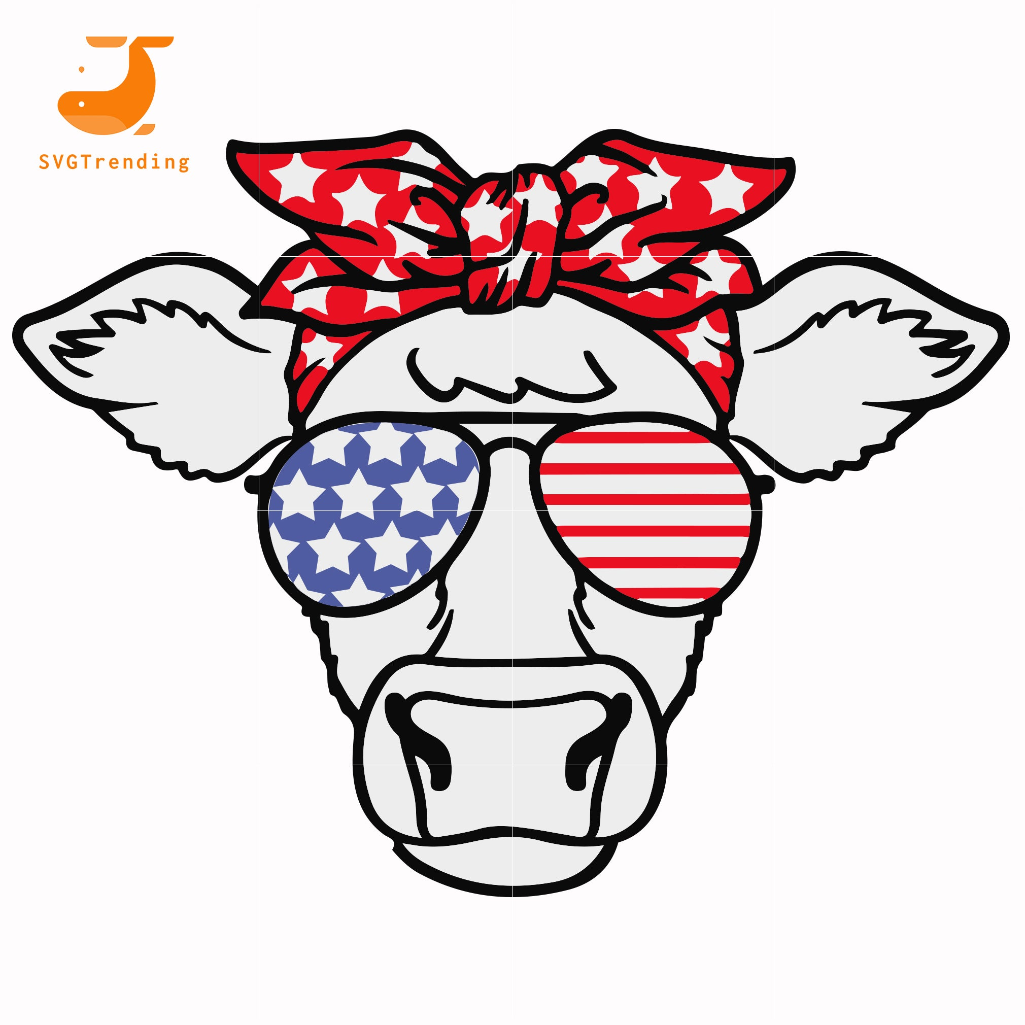 cow america svg, png, dxf, eps, digital file JULY0004