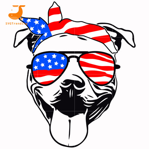pitbull america svg, png, dxf, eps, digital file JULY0066
