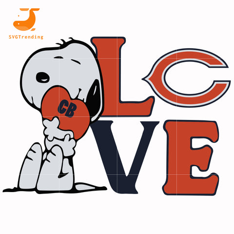 snoopy love Chicago Bears svg, png, dxf, eps digital file TD6