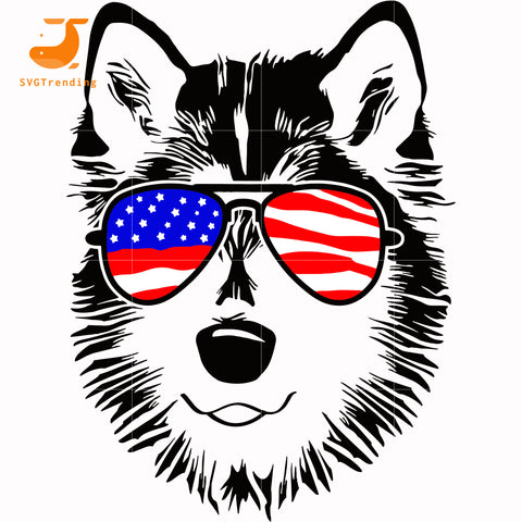 husky dog america svg, png, dxf, eps, digital file JULY0062