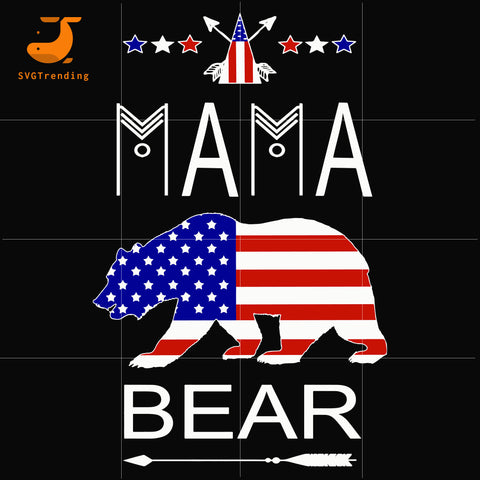 mama bear america svg, png, dxf, eps, digital file JULY0076