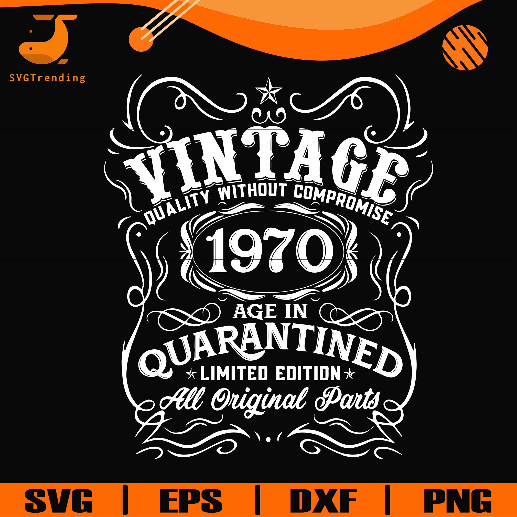 Vintage 1970 age in quarantined limited edition svg, limited edition svg, 1970 birthday svg, png, dxf, eps digital file NBD0097