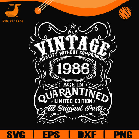Vintage 1986 age in quarantined limited edition svg, limited edition svg, 1986 birthday svg, png, dxf, eps digital file NBD0113