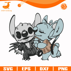 Stitch and Angel Jack Skellington The Nightmare Before Christmas svg, png, dxf, eps digital file NCRM0112