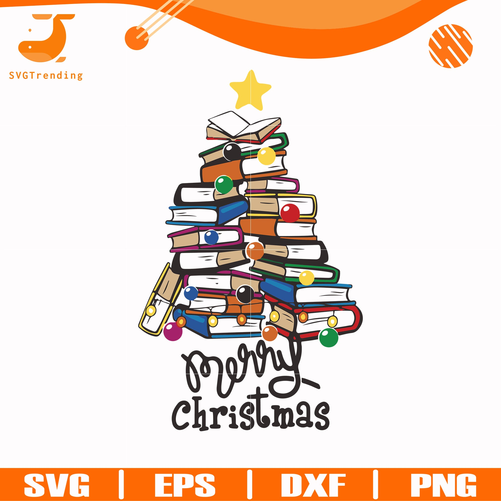 Merry Christmas Books tree svg, png, dxf, eps digital file NCRM14072025