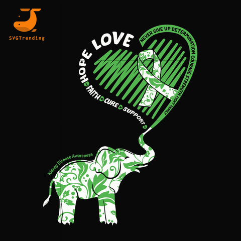 Cute Elephant With Heart Kidney Disease Awareness svg, png, dxf, eps digital file TD111