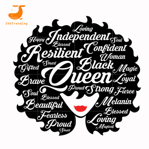 Black Queen Afro Woman svg, png, dxf, eps, digital file TD132