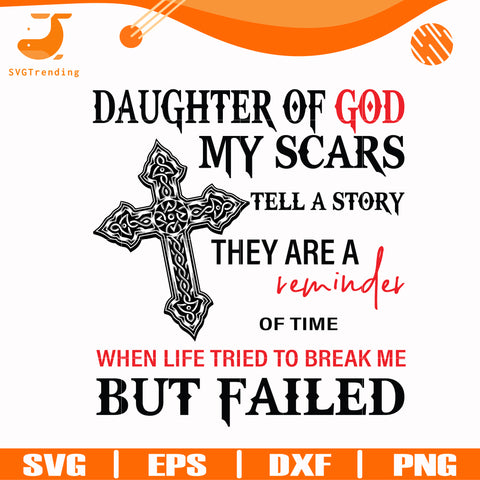 daughter of god i was born in chicago my scars tell a story they are a reminder of time when life tried to break me but failed svg, png, dxf, eps digital file TD2707202