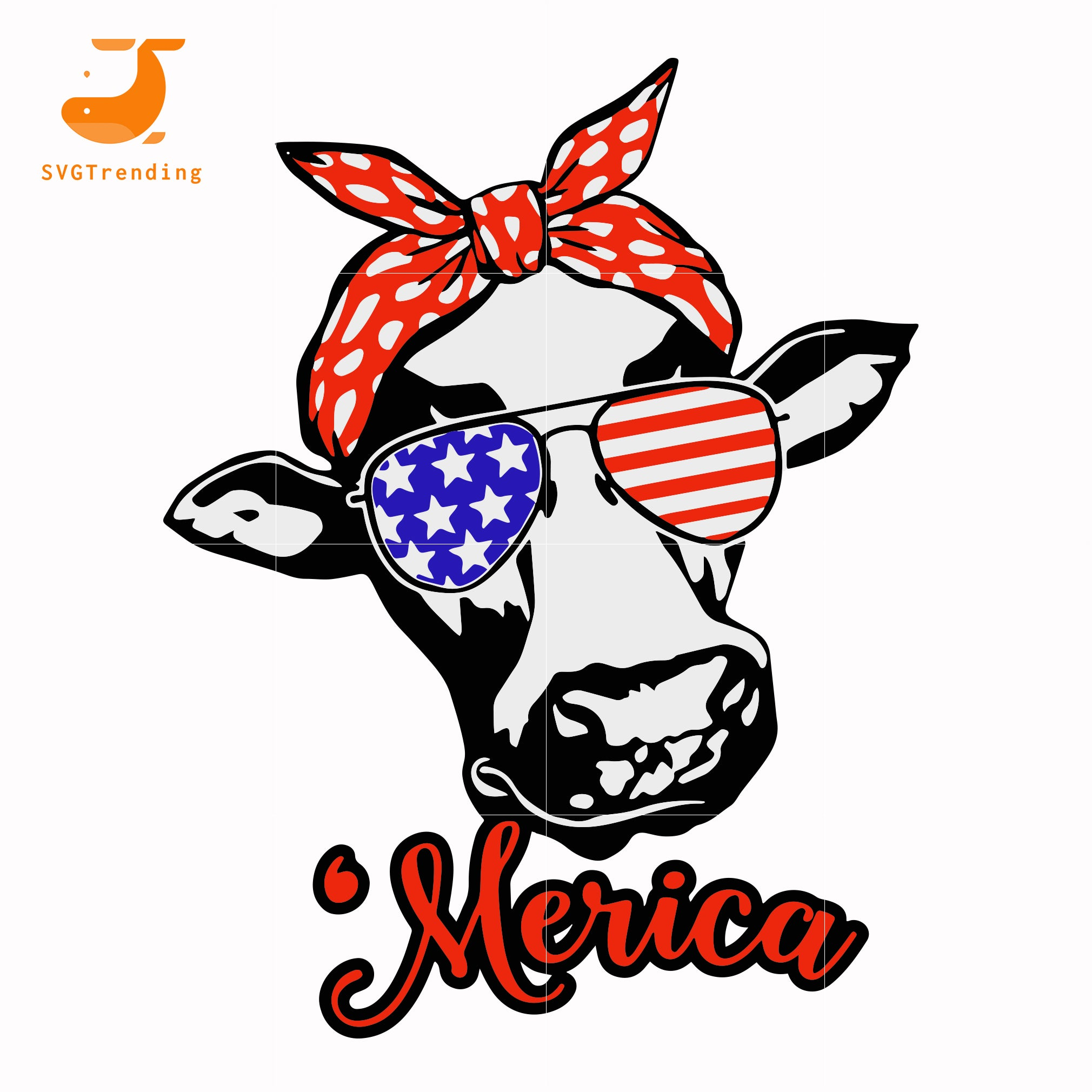 cow head america svg, png, dxf, eps, digital file JULY0020