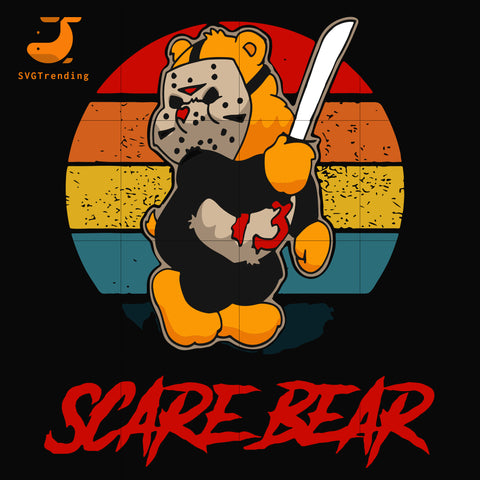 scare bear svg, halloween svg, png, dxf, eps digital file HLW0005