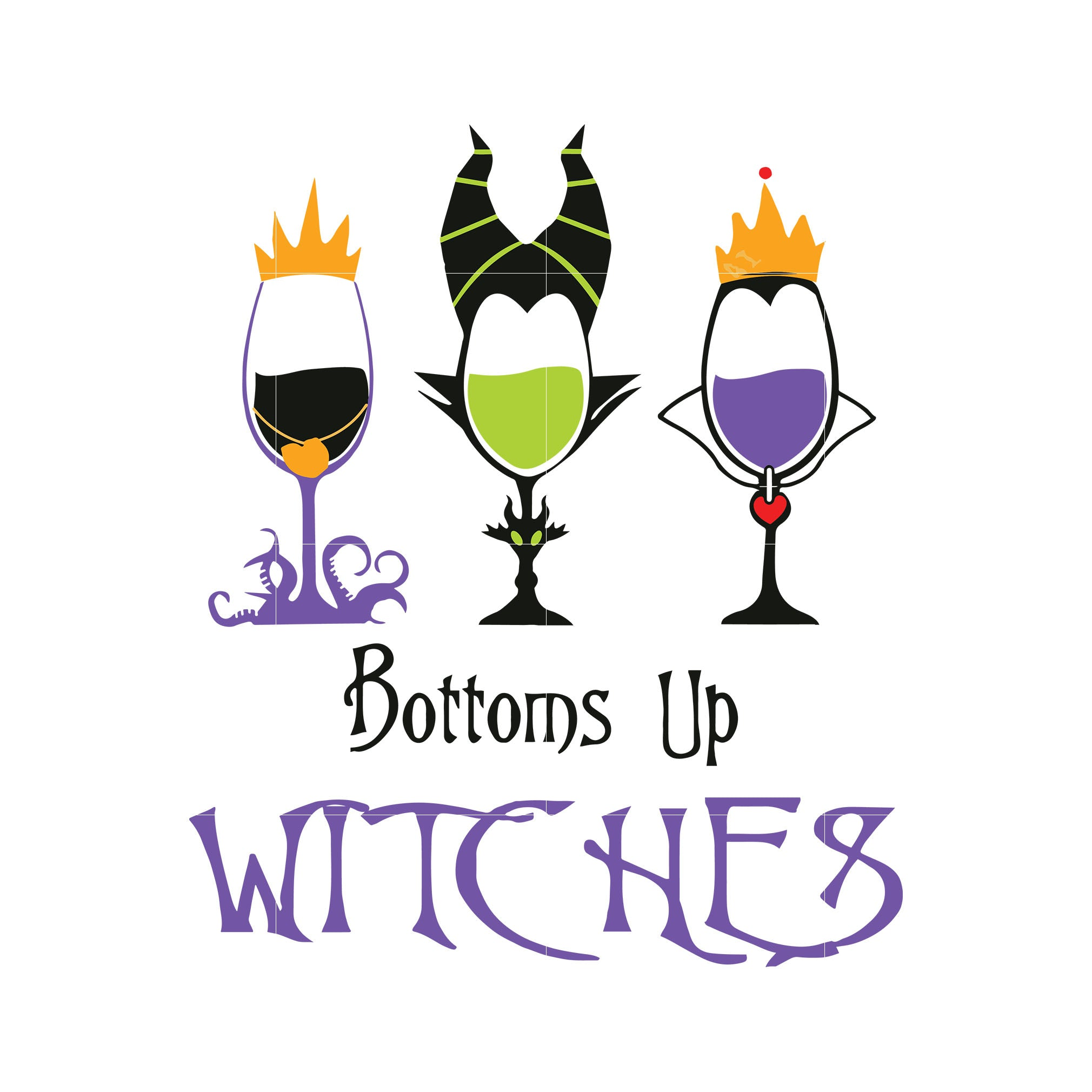 Bottoms up witches svg,dxf,eps,png digital file