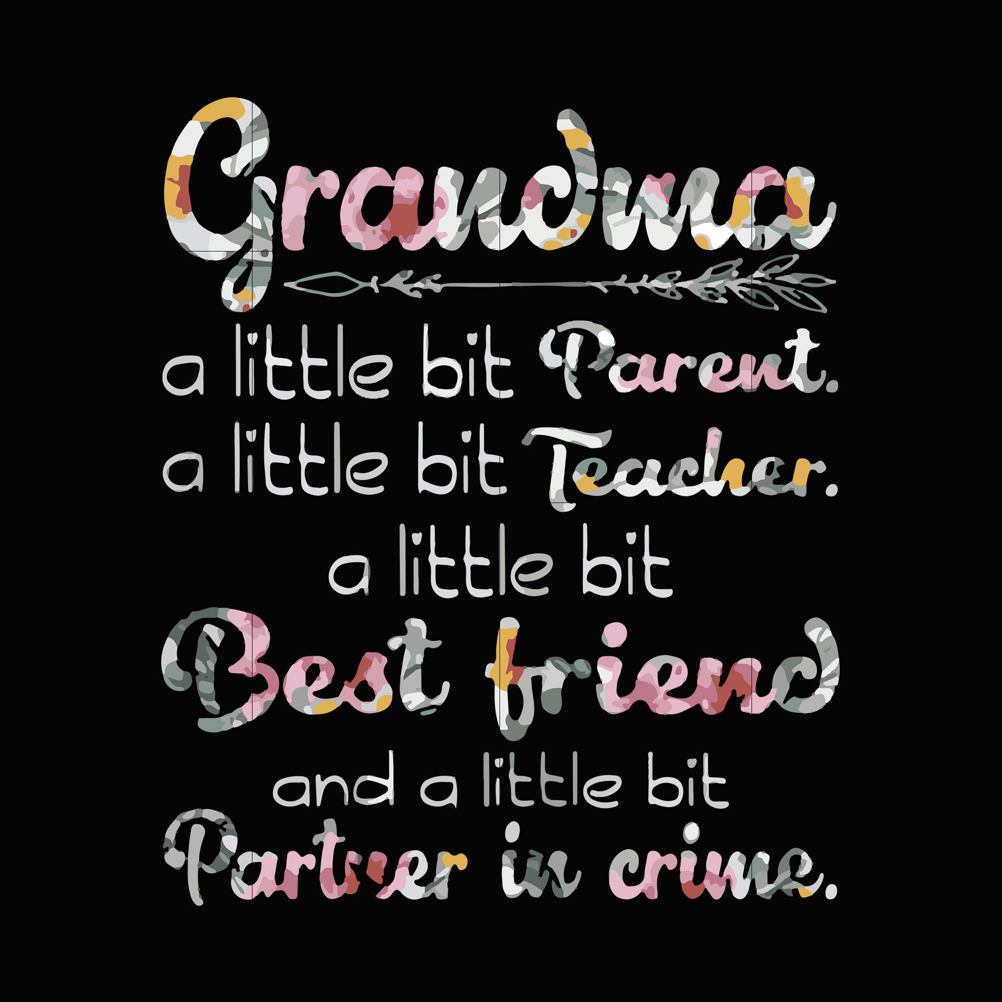 Grandma a little bit parent a little bit teacher a little bit best friend and a little bit partner in crime svg ,dxf,eps,png digital file