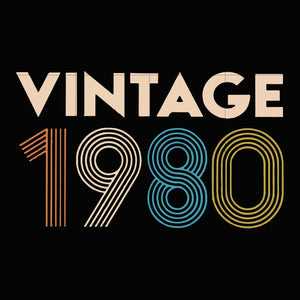 Vintage 1980 svg ,dxf,eps,png digital file