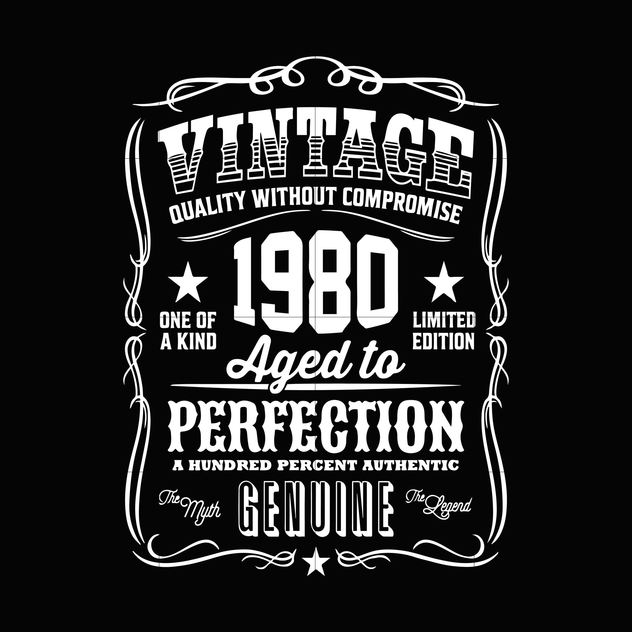 Vintage 1980 aged to perfection genuine svg ,dxf,eps,png digital file