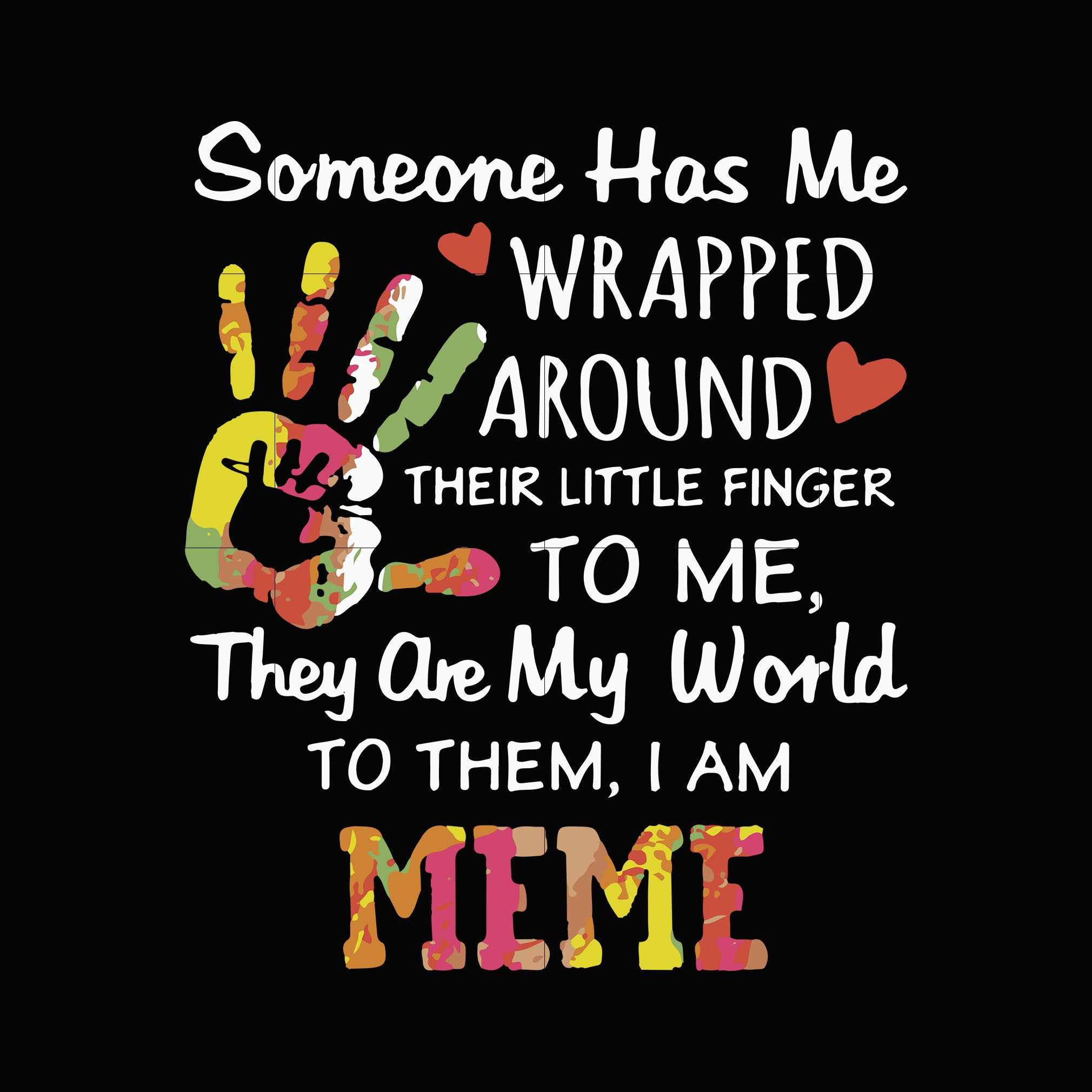 Someone has me wrapped around their little finger to me they are my world to them i am meme svg,dxf,eps,png digital file