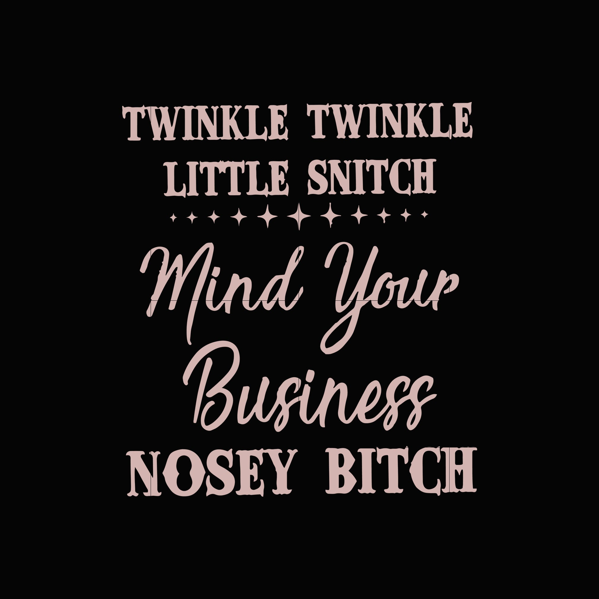 Twinkle twinkle little snitch mind your business nosey bitch svg,dxf,eps,png digital file