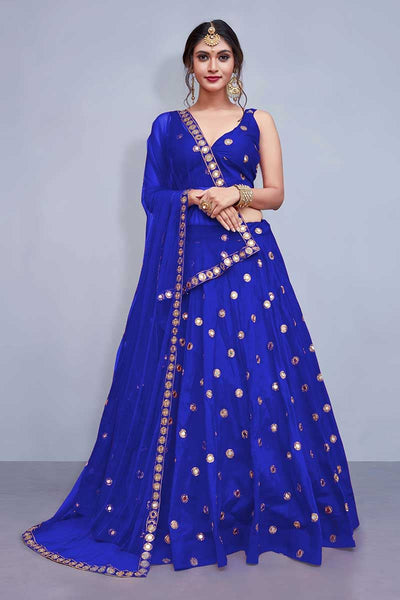 Blue Colored Silk Embroidered Designer Mirror Work Lehenga Choli