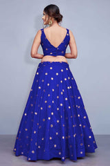 Intricate Blue Colored Silk Embroidered Designer Lehenga Choli