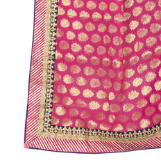 Amazing Pink And Blue Colored Viscose Silk Embroidered Designer Saree