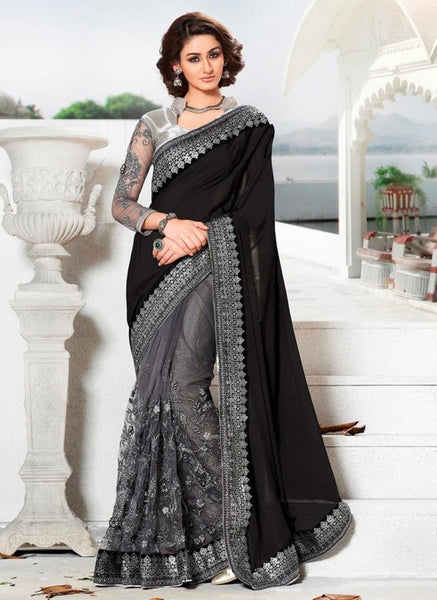 Trendy Black And Grey Colored Embroidered Designer Net Saree