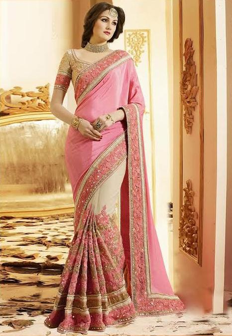 Alluring Pink And Cream Colored Embroidered Wedding Wear Silk Saree