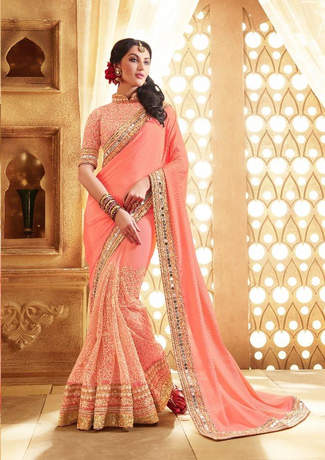 Sophisticated Peach Colored Embroidered Wedding Wear Designer Silk Sarees