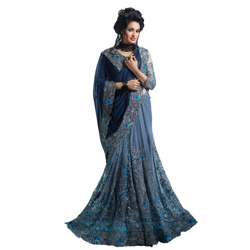 Elegant Neavy Blue And Grey Colored Designer Embroidered Net Saree