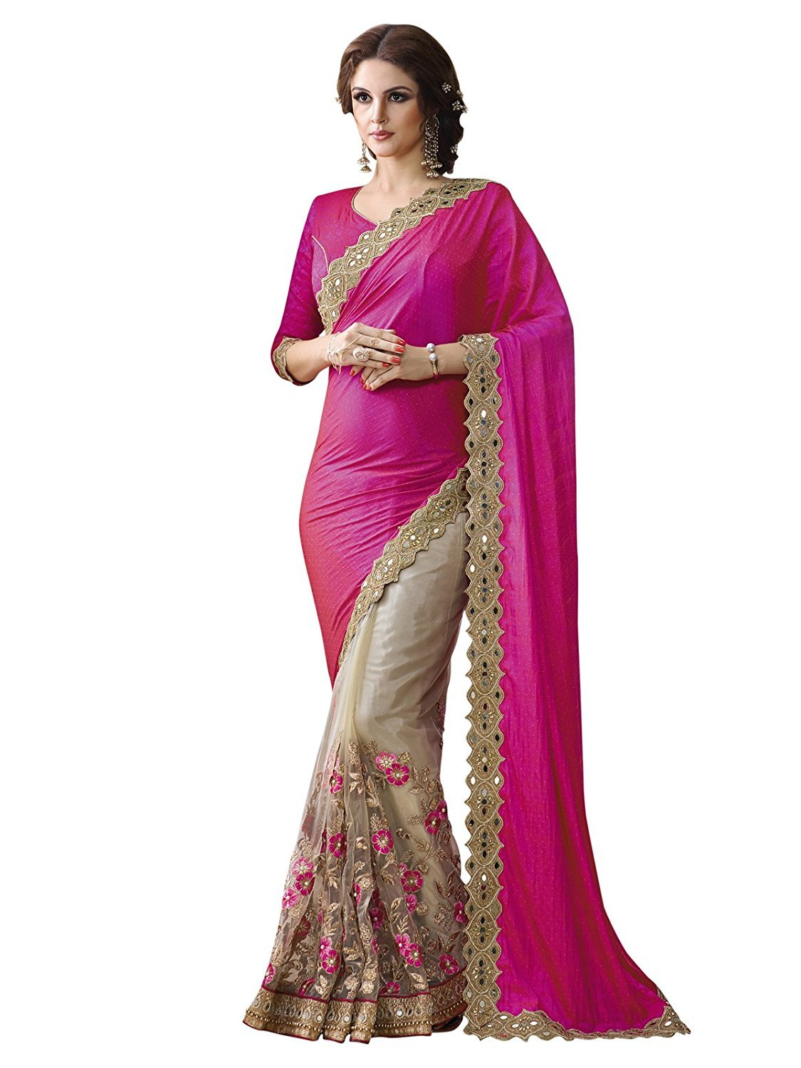Lovely Pink And Cream Colored Embroidered Festive Wear Silk Saree
