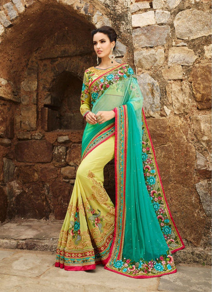 Charming Green And Yellow Colored Designer Wedding Wear Georgette Saree