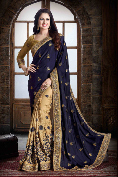 Marvellous Neavy Blue And Cream Colored Designer Wedding Wear Silk Saree
