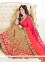 Adorning Pink And Cream Colored Designer Embroidered Silk Saree