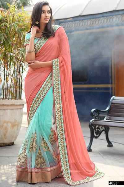 Demanding Peach And Sky Colored Designer Embroidered Net Saree