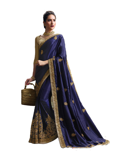 Opulent Neavy Blue Colored Designer Embroidered Silk Saree