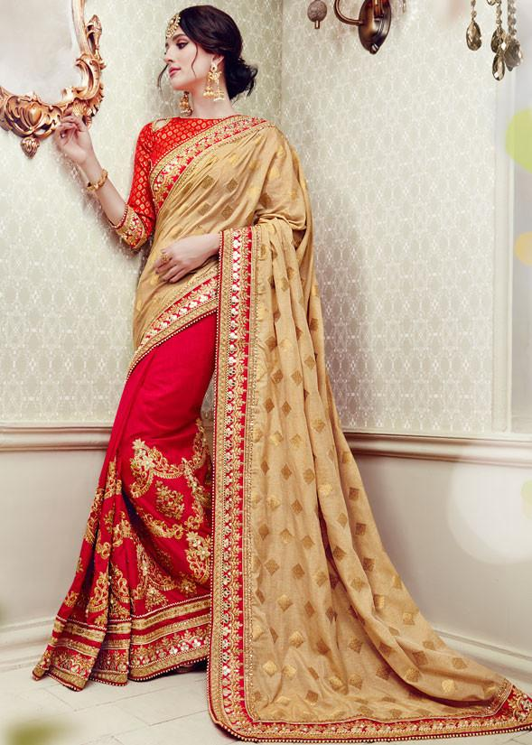 Graceful Cream And Red Colored Designer Embroidered Wedding Wear Silk Saree