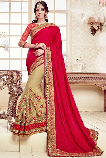 Deserving Cream And Red Colored Designer Embroidered Silk Saree