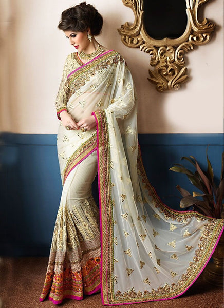 Appealing Off White Colored Silk Embroidered Designer Wedding Wear Saree