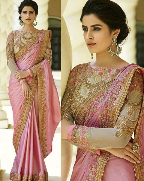 Precious Light Pink Colored Silk Embroidered Designer Festive Wear Saree