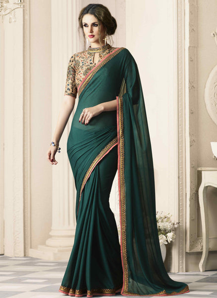 Surpassing Dark Green Colored Silk Designer Embroidered Saree