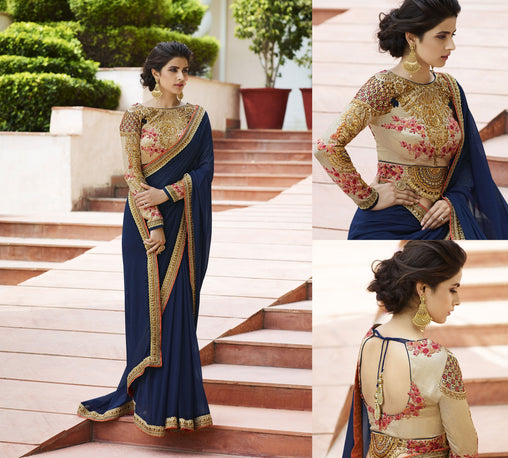 Deserving Neavy Blue Colored Silk Embroidered Designer Saree