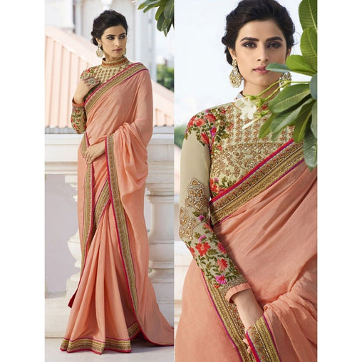 Extraordinary Peach Colored Designer Silk Embroidered Saree