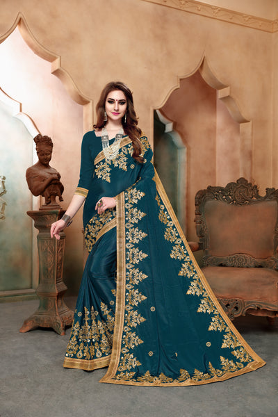 Sophisticated Rama Colored Designer Embroidered Silk Saree