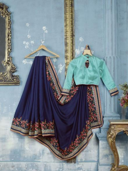 Breathtaking Neavy Blue Colored Silk Embroidered Designer Saree