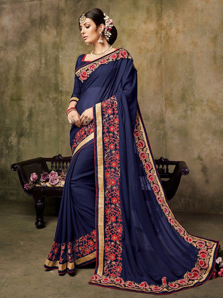 Jazzy Neavy Blue Colored Silk Embroidered Designer Saree