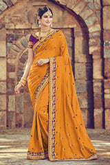 Hypnotic Fanta Colored Embroidered Designer Silk Saree