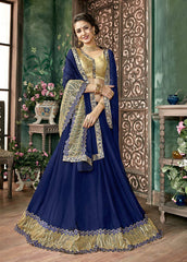 Eye-Catching Neavy Blue Colored Silk Embroidered Designer Saree