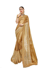 Arresting Chikoo Colored Silk Embroidered Designer Saree