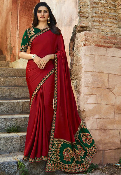 Ravishing Red Colored Silk Embroidered Designer Saree