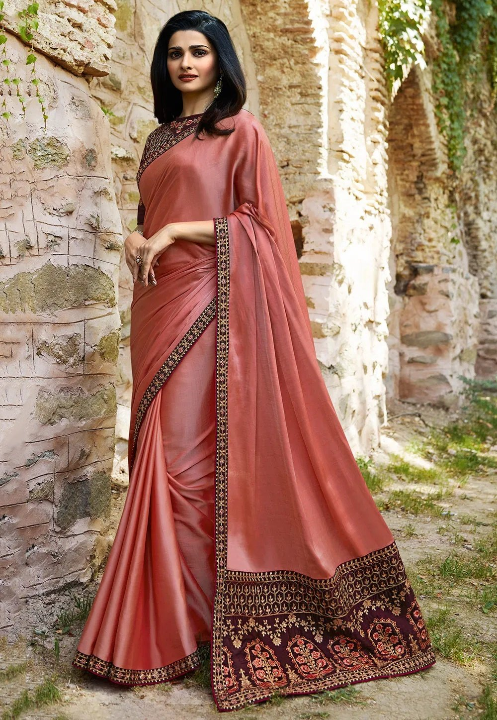 Wonderful Peach Colored Silk Embroidered Designer Saree