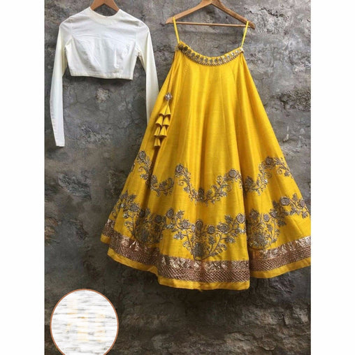 Amazing Yellow Colored Silk Embroidered Designer Lehenga Choli