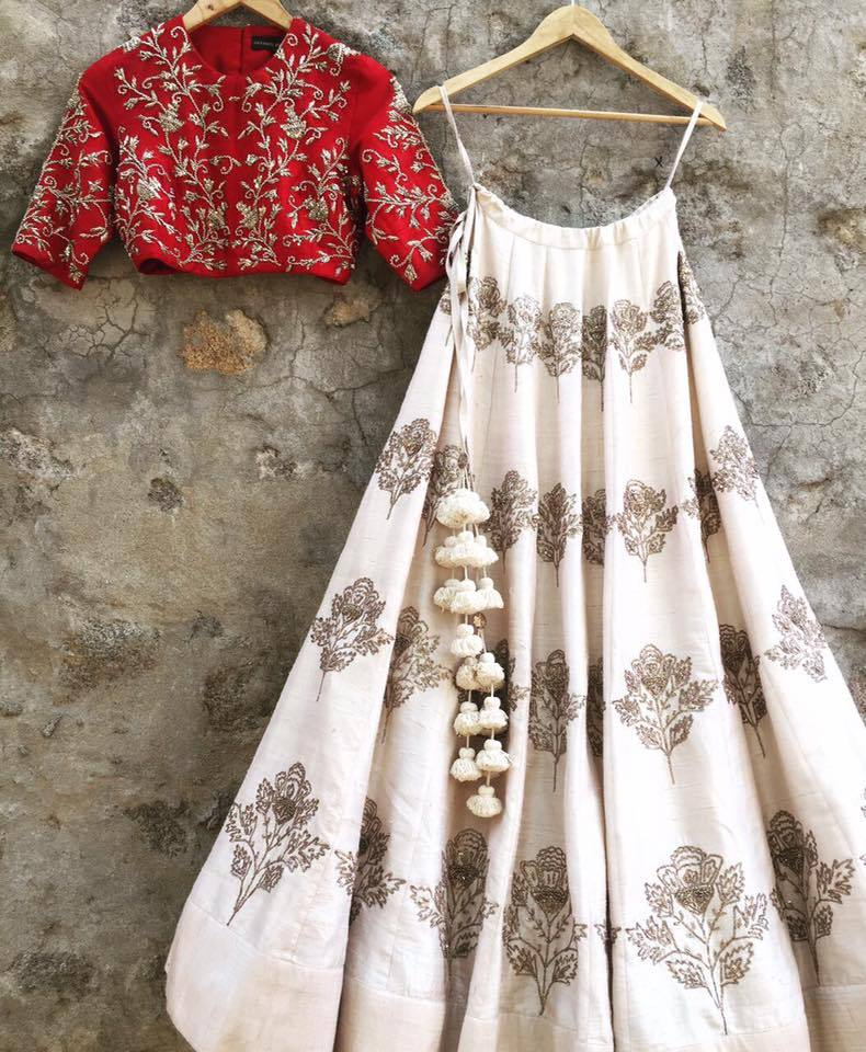 Adorable Off White Colored Silk Embroidered Designer Lehenga Choli